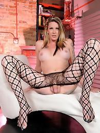 Long-legged Morgan jerks in pantyhose