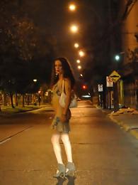 Nikki posing as a street prostitute