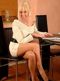 Knitted Dress and Sheer Pantyhose
