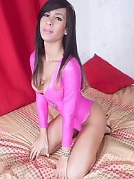Barebacked in Shiny Pink Latex