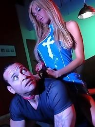 Beautiful TS Kimber James interrogating a guy rough
