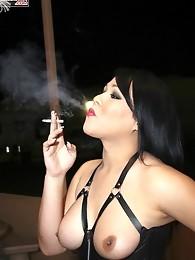 brunette shemale mistress smoking