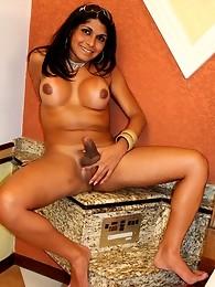 Shy young brunette Ingrid lets loose her massive tits